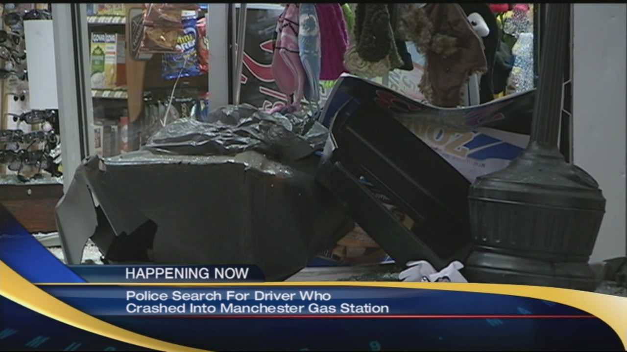 Manchester police said a driver drover into an Irving gas station Saturday and then left the scene.