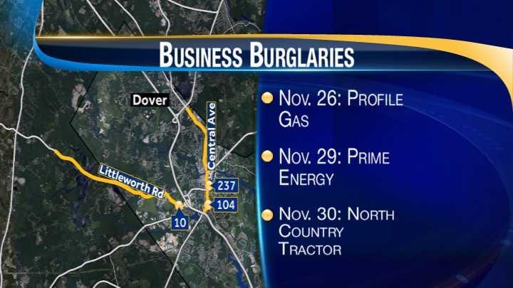 map-Dover business burglaries