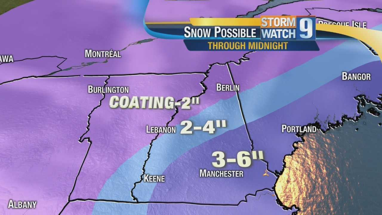Snow predictions Tuesday afternoon