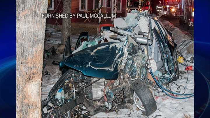 Aftermath of car carrying 3 teens that slammed into a tree late Tuesday night in Derry.