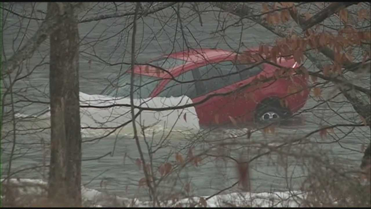 Teens escape plunge into icy river