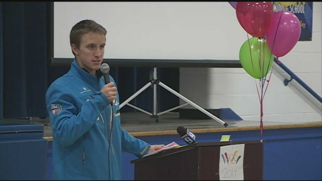 Students give sendoff to Olympian