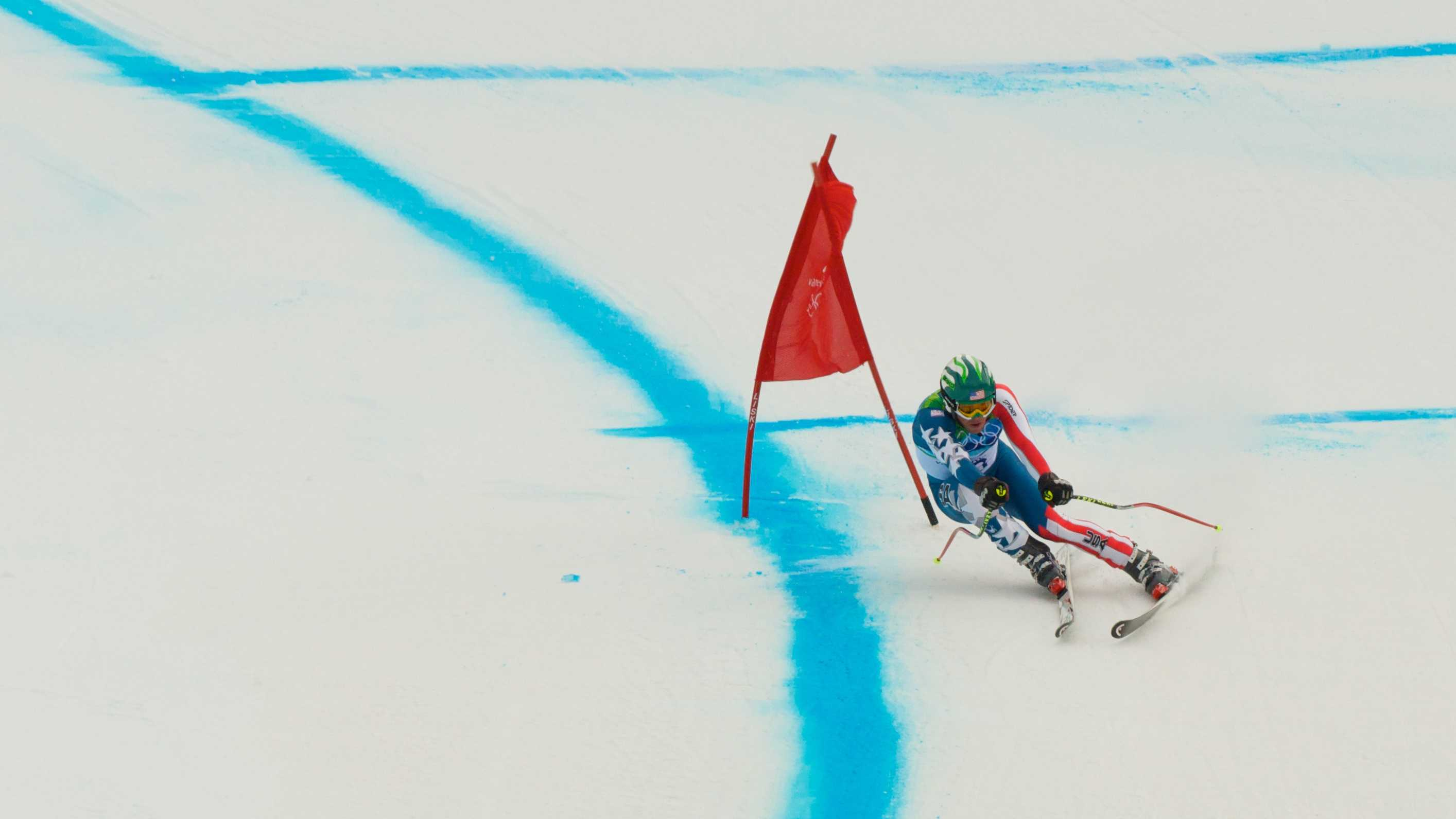 Bode Miller in the downhill at the 2010 Winter Olympics.