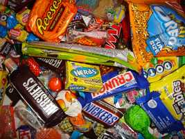 The world's largest candy counter is Chutters in Littleton. It is 111 feet long, including three tiers and 800 jars of delicious sweets.