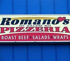 18 tie) Romano's Pizzeria, Salem.Also has locations in Derry and Litchfield.