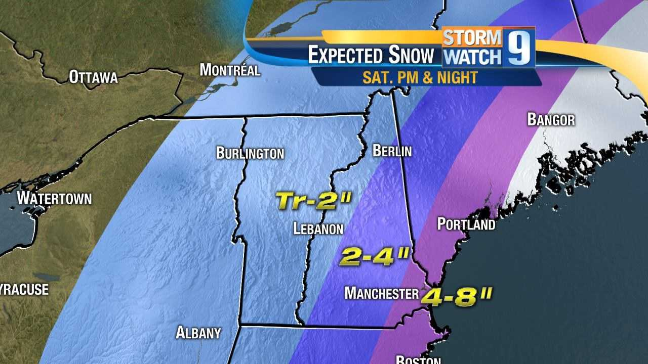 Friday snow projections