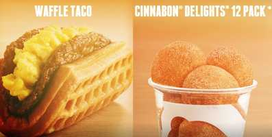 Taco Bell launches its new breakfast menu on Thursday, including items such as a 'waffle taco' and 'a.m. crunchwrap.' Click through this slideshow to see the menu.