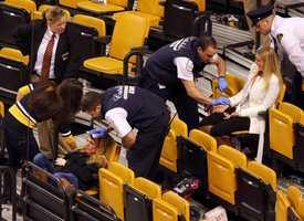 Two women were injured Thursday when netting fell on them at a Bruins game at the TD Garden. (Photo Courtesy: John Tlumacki/Boston Globe)