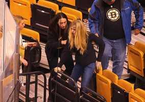 The women were hit by the net's metal frame. (Photo Courtesy: John Tlumacki/Boston Globe)