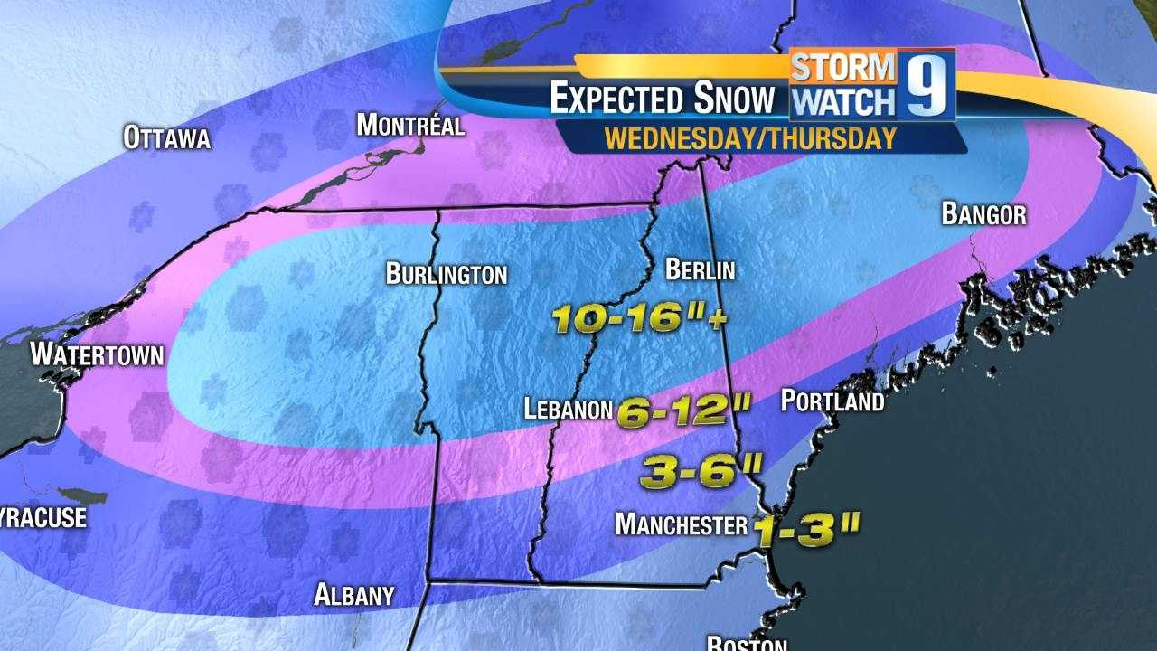 Snow map Tuesday evening