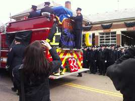 The casket for Lt. Ed Walsh outside the Watertown Fire Department.