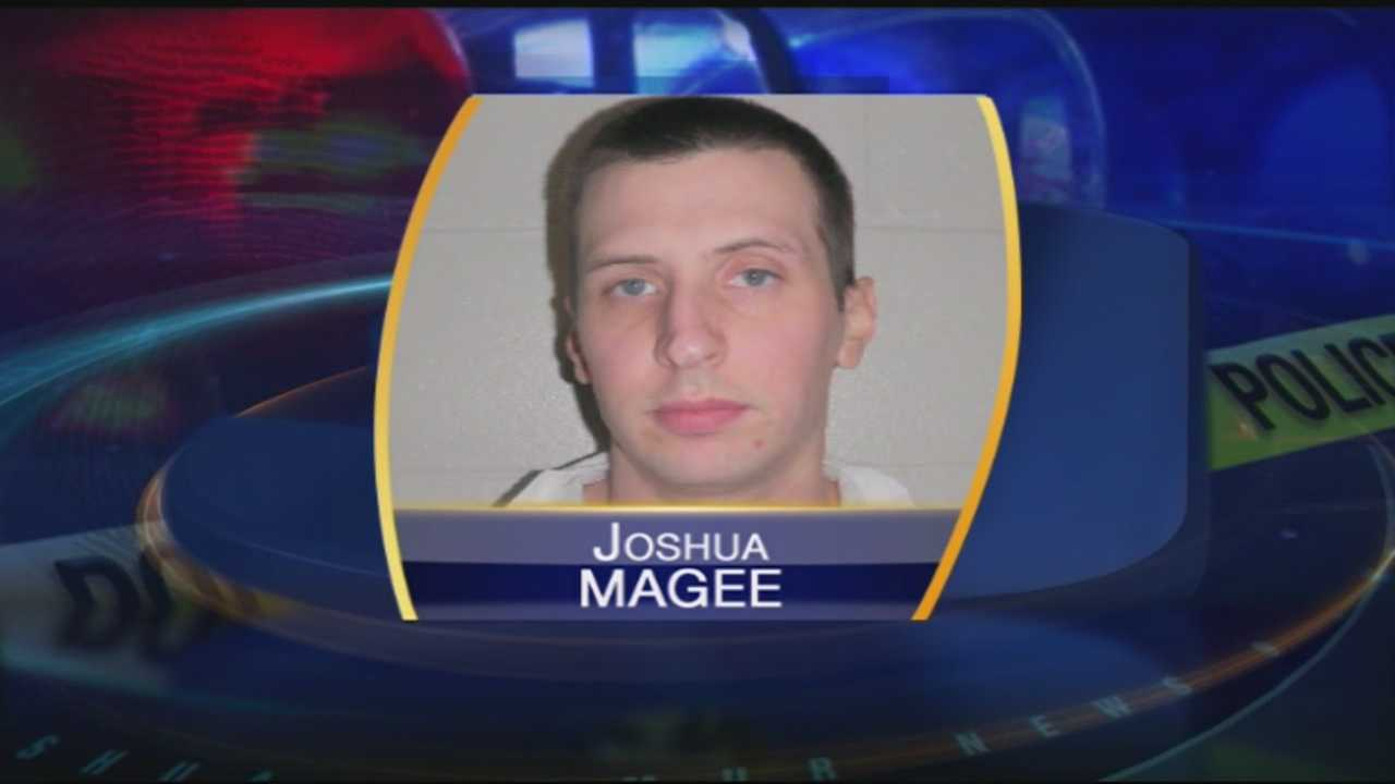 Joshua Magee, 29, faces a slew of charges including armed robbery and criminal threatening with a deadly weapon.