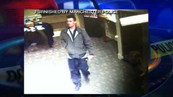 Police started searching for the man after a bank robbery in Manchester on Wednesday, April 9.