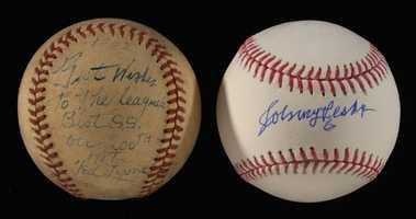 Vintage Ted Lyons single signed baseball inscribed to Johnny Pesky c.1942.
