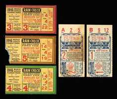 1946 World Series ticket stubs (Games 1-5). Original stubs as issued for games played in both Boston and St. Louis as retained by a key participant.
