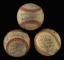 Lot of (3) vintage team autographed baseballs from the Pesky Collection