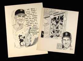 Johnny Pesky original cartoon artwork pieces by Frank Lanning
