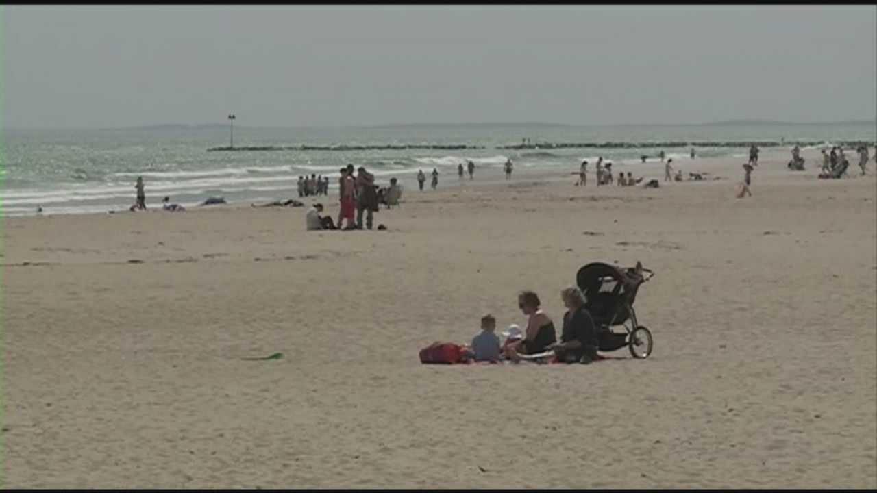 Nice weather brings people to beach