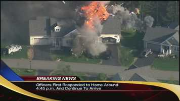 At 5:49 p.m., a massive explosion rocked the neighborhood and blew out a part of the home's roof. Young said the building was a duplex, and the resident in the other part of the structure had been able to get out safely earlier.