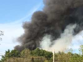 Minutes later, thick, black smoke could be seen at a distance billowing into the air from the home.