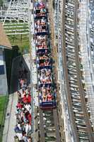 As 24 thrill seekers board each Cyclone train, they quickly climb 109 feet to the top then plummet down at speeds of over 50 miles per hour.