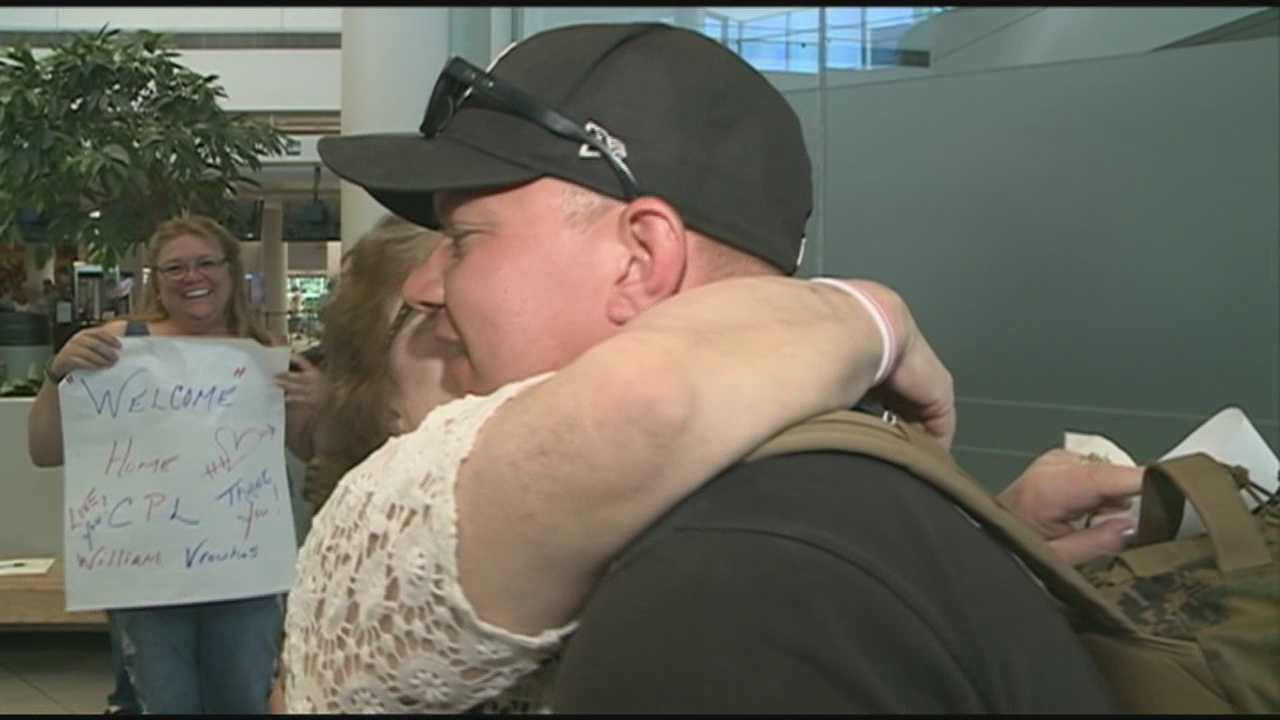 After a 2 year deployment, Cpl C.J. Vrouhas returns home