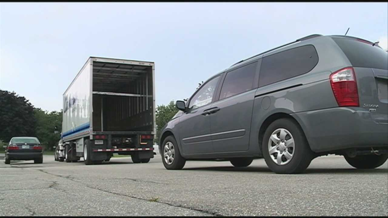 Teens learn about driving with trucks