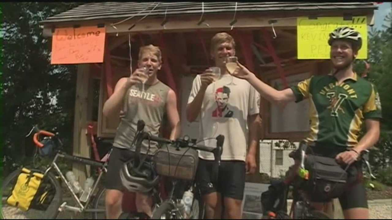 Three men were resting Sunday after biking across the country.