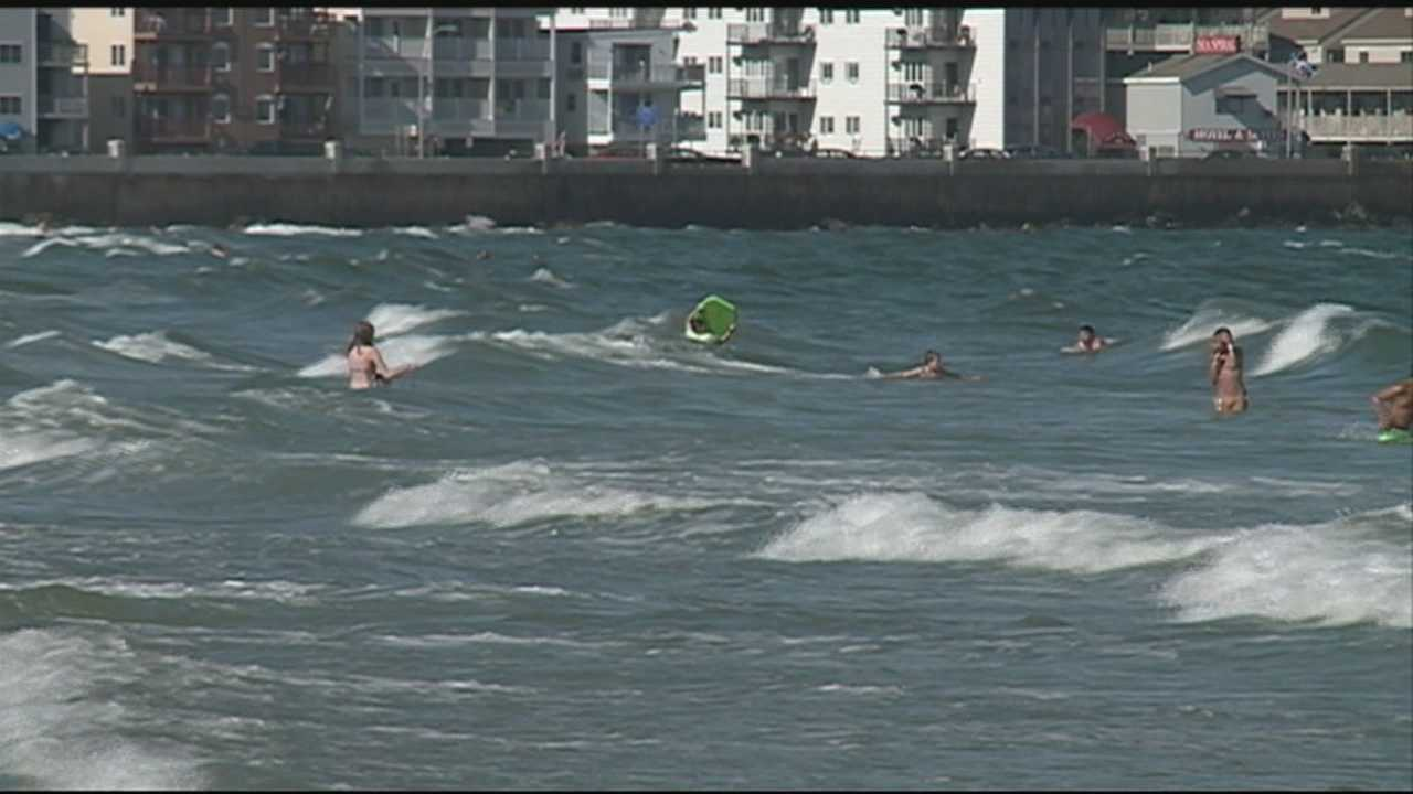 Lifeguards out on full force as rip currents hit Hampton Beach.