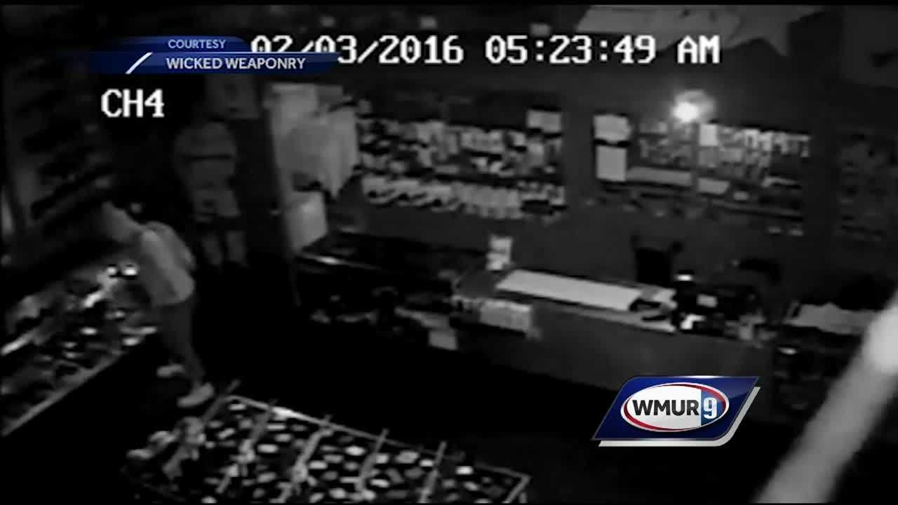 Police in both New Hampshire and Massachusetts are investigating a pair of break-ins at gun shops this month that they believe might be related.