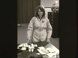 Teacher is Space participant Christa McAuliffe during suite/hygiene briefing