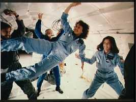 Teacher in Space Christa McAuliffe on the KC-135 for zero-G training