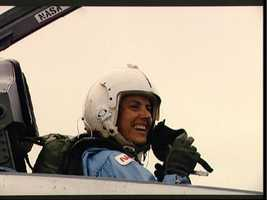 Christa McAuliffe at Ellington AFB for training flight in T-38
