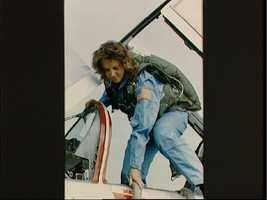 Christa McAuliffe during her training ride in the T-38 jet trainer
