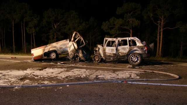 This is all that was left of the vehicles involved in a wrong-way collision on Interstate 95 in Stuart. (Courtesy of Florida Highway Patrol)