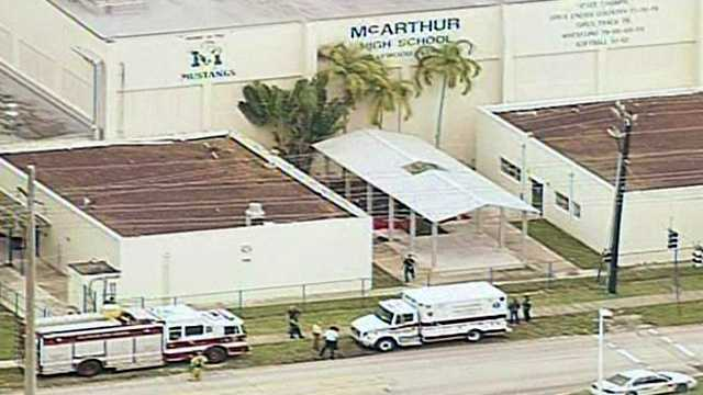 Twelve students and two teachers were hospitalized after they developed rashes in class at McArthur High School in Hollywood. (Courtesy of WPLG)