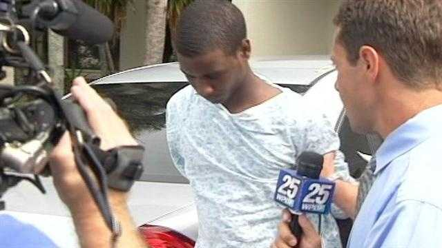 Dominique Banks is brought to the Palm Beach County Jail after his arrest on an armed robbery charge.