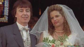 "Bill Wyman, pictured here with wife Suzanne Accosta at his 1993 wedding, quit the Rolling Stones in December 1992. The last album he recorded with the band was ""Steel Wheels."""