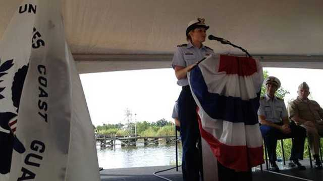 Delray Beach native Molly Keyser is honored at a U.S. Coast Guard Change of Command Ceremony in Alabama on Friday. (Photo courtesy: Lauren Godden)