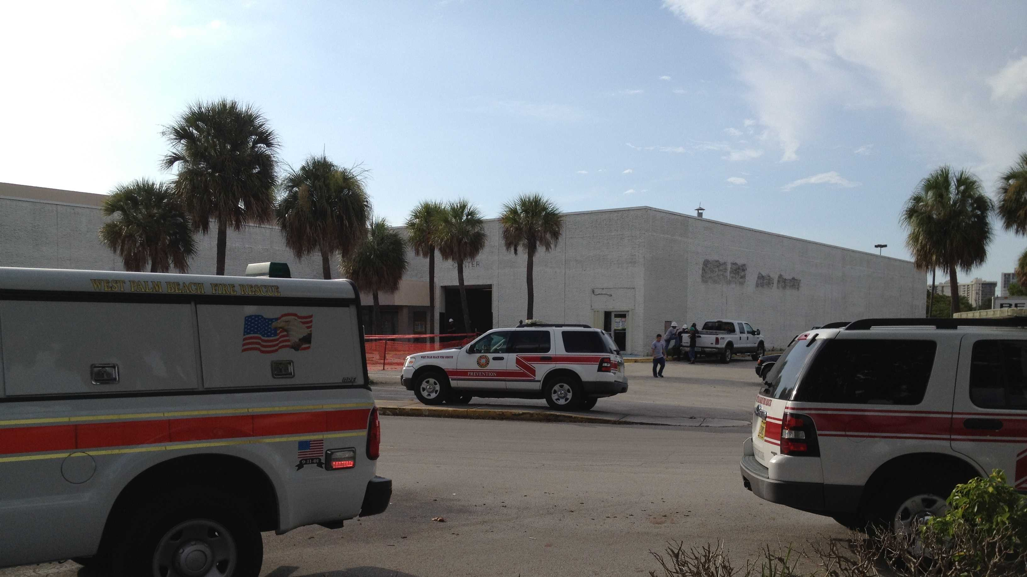 A worker fell from a scissor lift while removing asbestos at the old Palm Beach Mall.