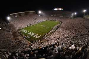 With an official seating capacity of 106,572, Penn State's Beaver Stadium is the second-largest in the United States and the fourth largest in the world. Whiteout games organized by one of the best student sections in the country make Beaver Stadium one of the toughest places to play for opposing teams.(Photo: Penn State Athletics)
