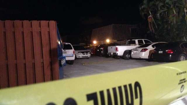 One suspect was shot dead and a second was nabbed by a K-9 deputy after a home invasion in Palm Springs late Wednesday night. (Photo: Chris McGrath/WPBF)