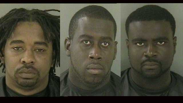 Antonio Long, Kevin Holloway and Jean Pompee (left to right) were arrested on cocaine possession charges.