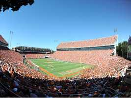 """The """"other"""" Death Valley is no slouch. From Howard's Rock to running down the hill, there are few places tougher to play on a Saturday than Clemson Memorial Stadium. (Photo: Clemson SID)"""