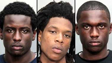 From left, Dedrick Brown, Travares Santiago and Willie Barney were arrested in connection with the shooting of an off-duty police officer in Miami over the weekend.