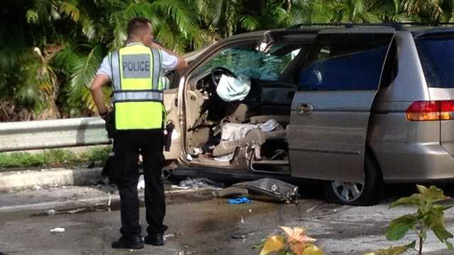 One person was killed and two others were injured in a car accident in Greenacres on Thursday morning. (Photo: Chris McGrath/WPBF)