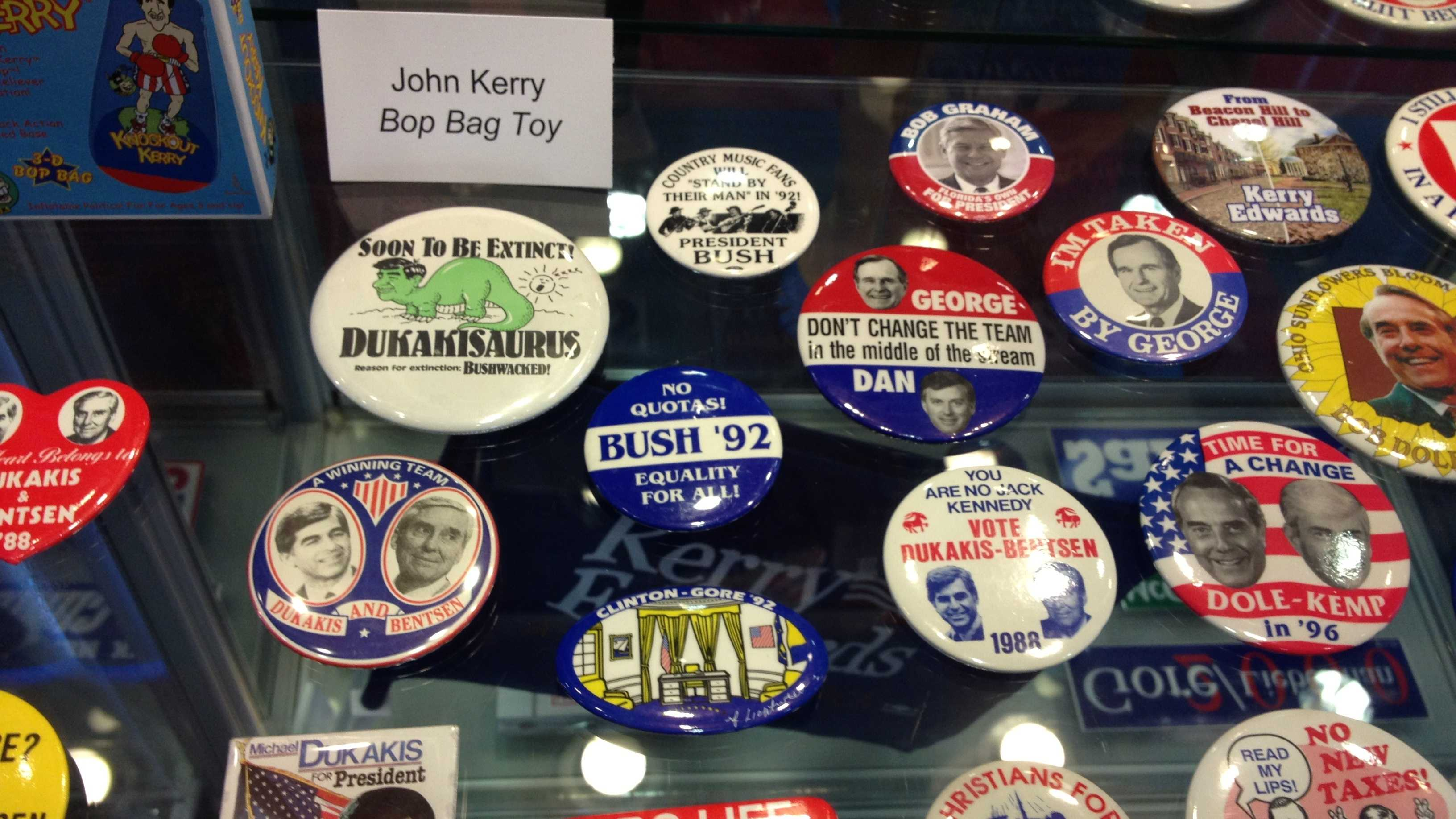 These presidential pins are just some of the items on display at the new Lynn University exhibit.