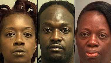 From left, Deidrea Graham, Charles Minter and Lutisha Blue are facing charges in connection with a prescription drug ring in Palm Beach County.