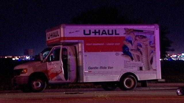 A motorcyclist was killed in a collision with this U-Haul truck.