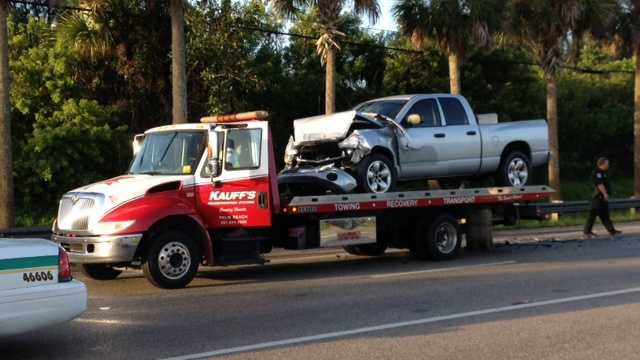 A crash involving a Palm Tran bus and this pickup truck sent more than a dozen people to area hospitals Monday morning. (Photo: Shelli Lockhart/WPBF)